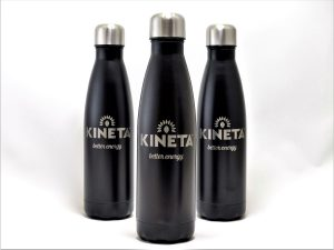 Rotary engraved anodised aluminium water bottles with text and logo.