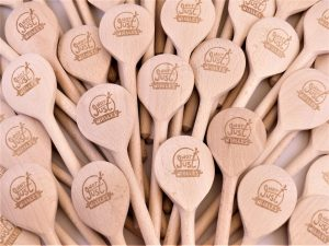 Laser engraved wooden spoons with logo