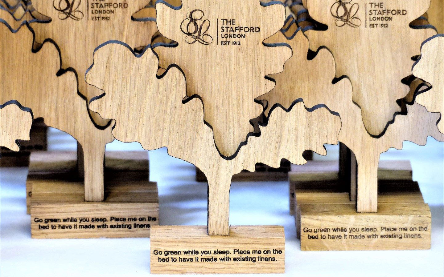 Laser cut and engraved trees for hotel