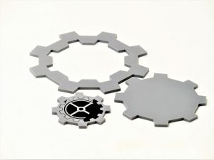 Precision laser cut 3mm grey acrylic with black acrylic infilled cog