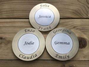Laser marked brass and stainless steel coaster