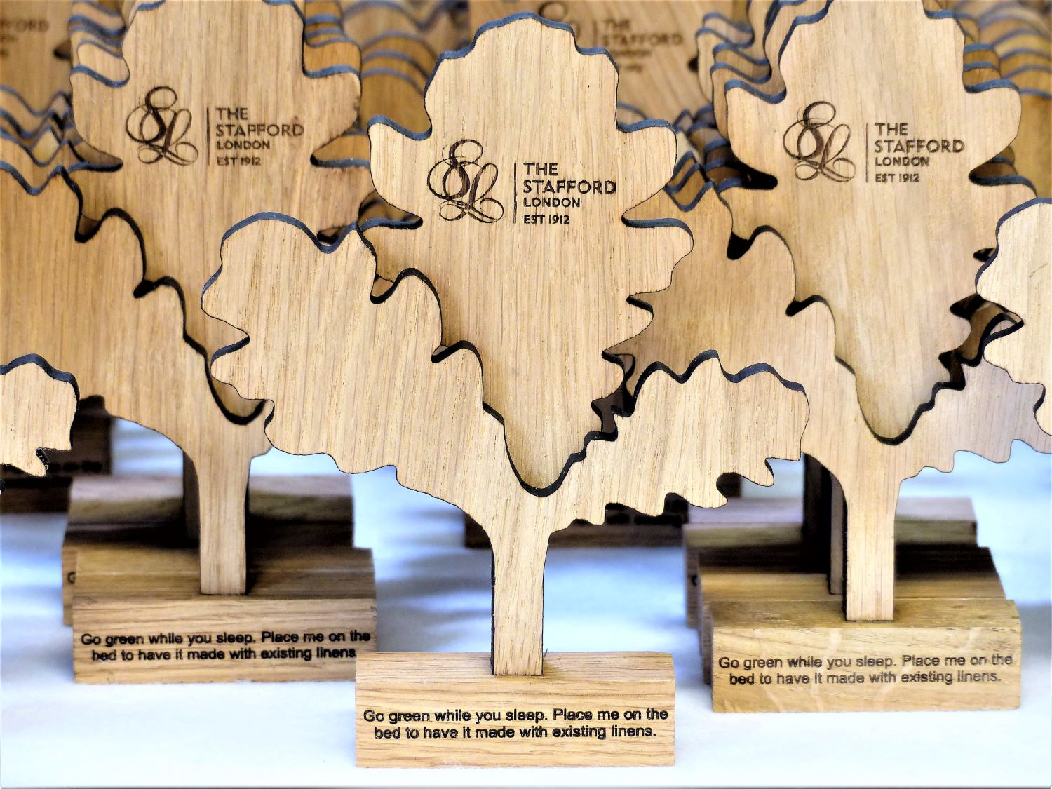 Laser cut and engraved wood for hotels